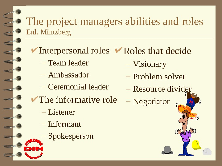 The project managers abilities and roles Enl. Mintzberg Interpersonal roles – Team leader –