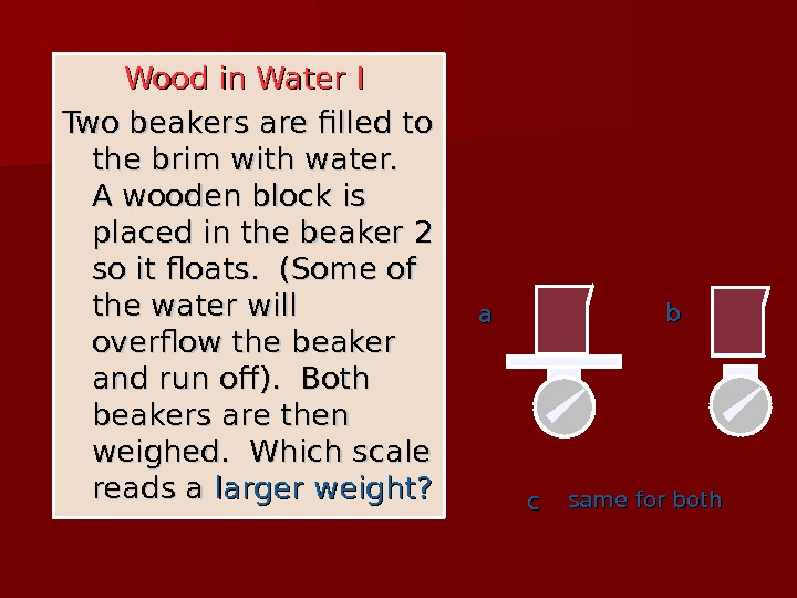 Wood in Water I  Two beakers are filled to the brim with water.  A