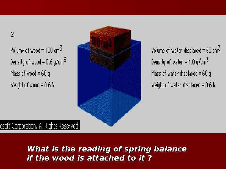 What is the reading of spring balance if the wood is attached to it ?