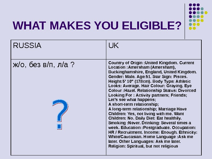WHAT MAKES YOU ELIGIBLE? RUSSIA UK ж /o,  без в / п ,