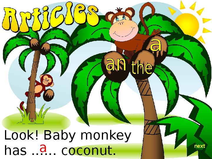 Look! Baby monkey has …… coconut.  a next