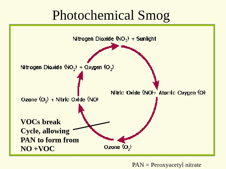 Photochemical Smog VOCs break Cycle, allowing PAN to form from NO +VOC PAN = Peroxyacetyl nitrate