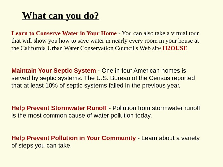 Learn to Conserve Water in Your Home - You can also take a virtual tour that