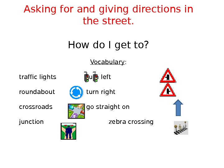 Asking for and giving directions in the street. How do I get to? Vocabulary :