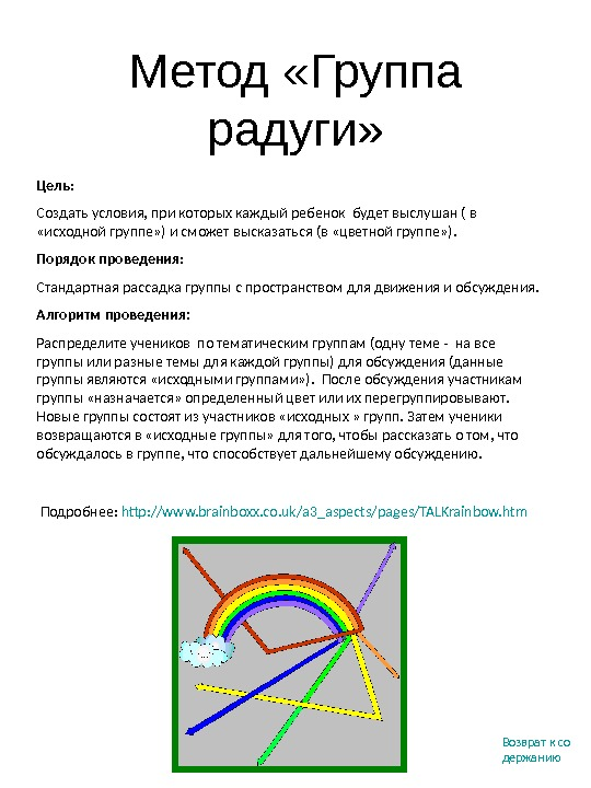 Метод «Группа радуги» Подробнее :  http: //www. brainboxx. co. uk/a 3_aspects/pages/TALKrainbow. htm  Цель :