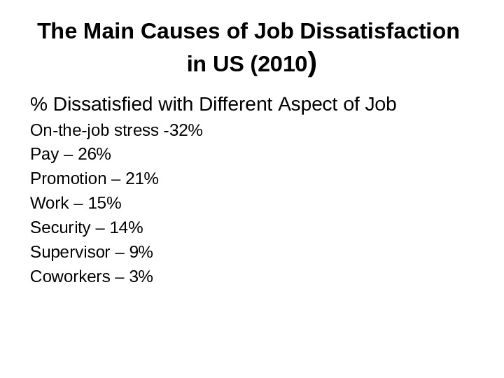 T he Main Causes of Job Dissatisfaction  in US (2010 )  Dissatisfied with Different