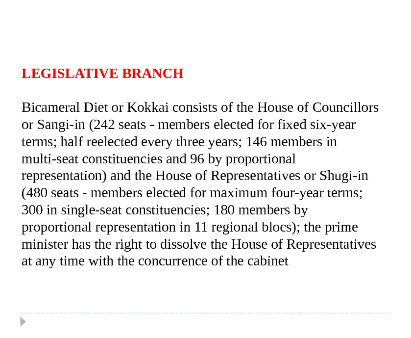 LEGISLATIVE BRANCH Bicameral Diet or Kokkai consists of the House of Councillors or Sangi-in (242 seats