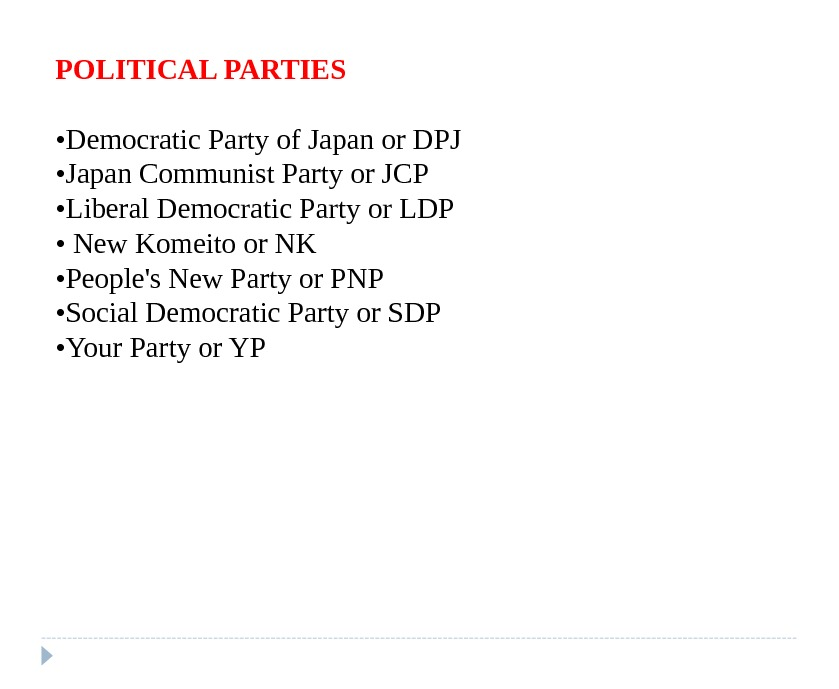 POLITICAL PARTIES • Democratic Party of Japan or DPJ  • Japan Communist Party or JCP