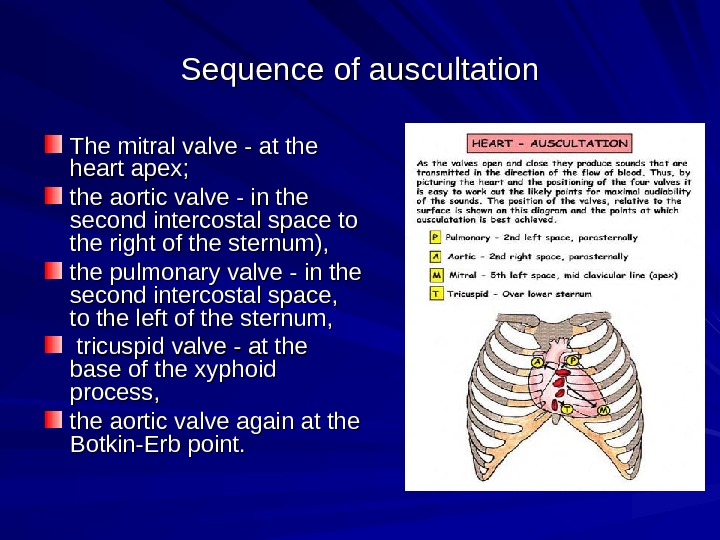 Sequence of auscultation The mitral valve - at the heart apex; the aortic valve -