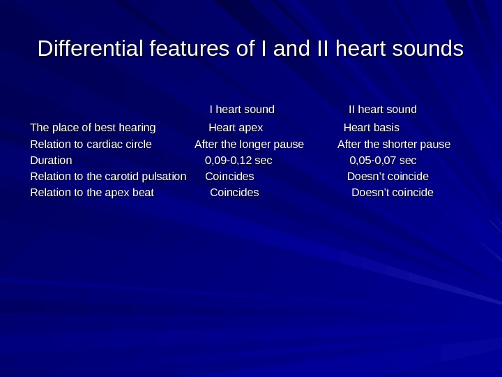Differential features of I and II heart sounds     I heart sound