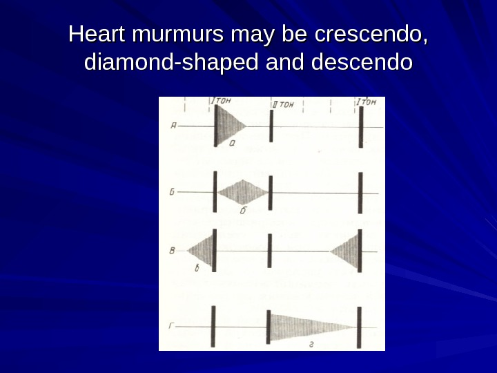 Heart murmurs may be crescendo,  diamond-shaped and descendo