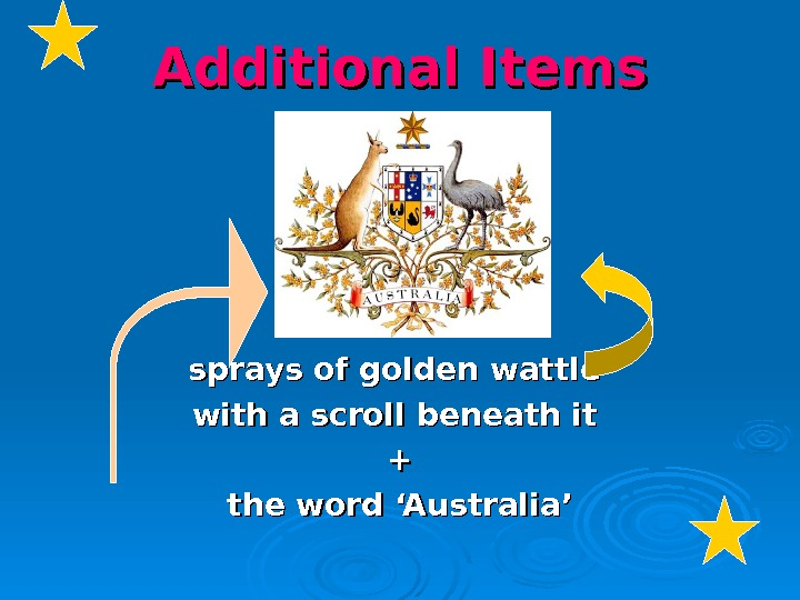 Additional Items sprays of golden wattle with a scroll beneath it ++ the word 'Australia'