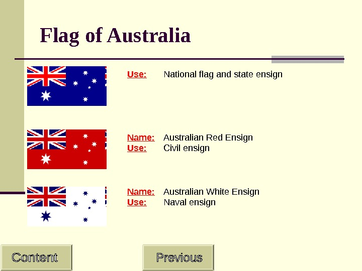 Flag of Australia Use: National flag and state ensign  Name: Australian Red Ensign