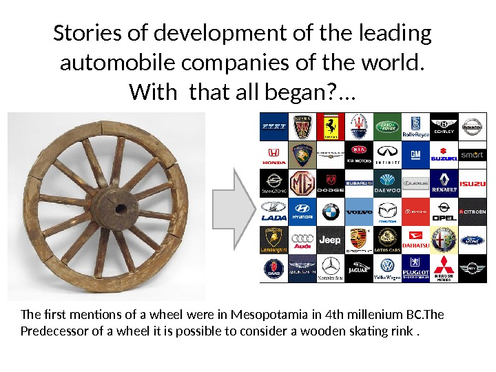 Stories of development of the leading automobile companies of the world. With  that all began?
