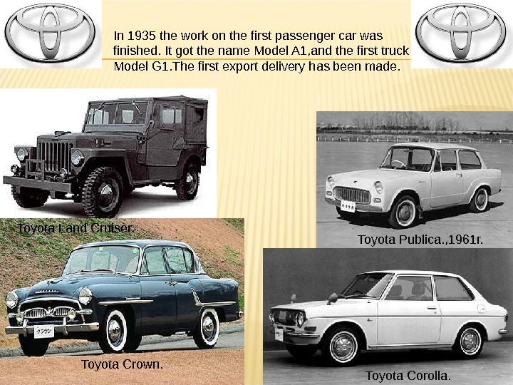 Toyota Land Cruiser. Toyota Crown. Toyota Publica. , 1961г. Toyota Corolla. In 1935 the work on