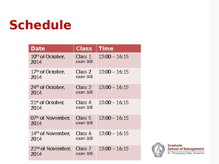 Schedule Date Class Time 10 th of October,  2014 Class 1 room 308 13: 00
