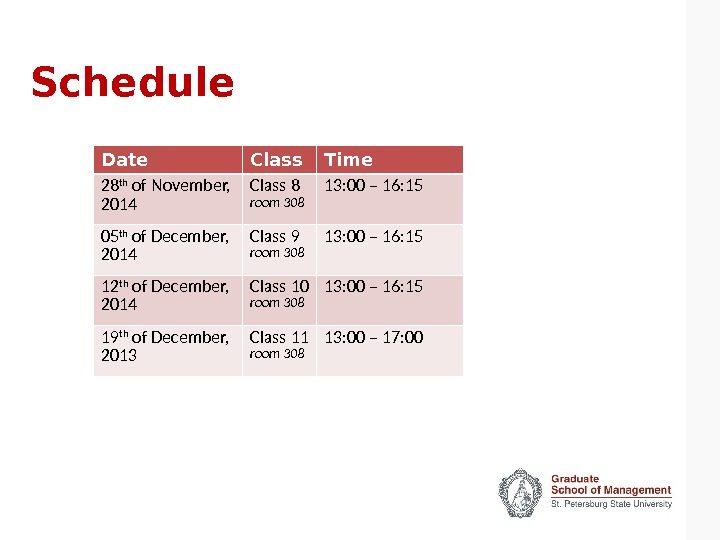 Schedule Date Class Time 28 th of November,  2014 Class 8 room 308 13: 00