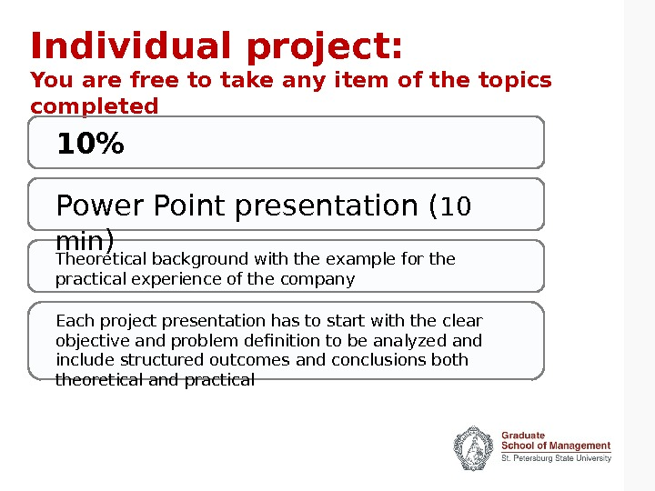 Individual project: You are free to take any item of the topics completed Power Point presentation