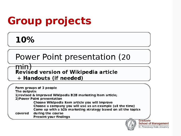 Group projects Power Point presentation ( 20 min ) Revised version of Wikipedia article  +