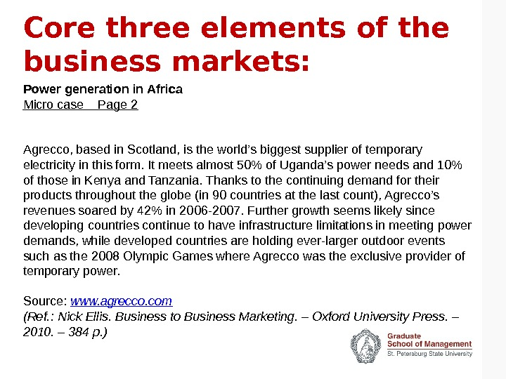 Core three elements of the business markets: Power generation in Africa Micro case  Page 2