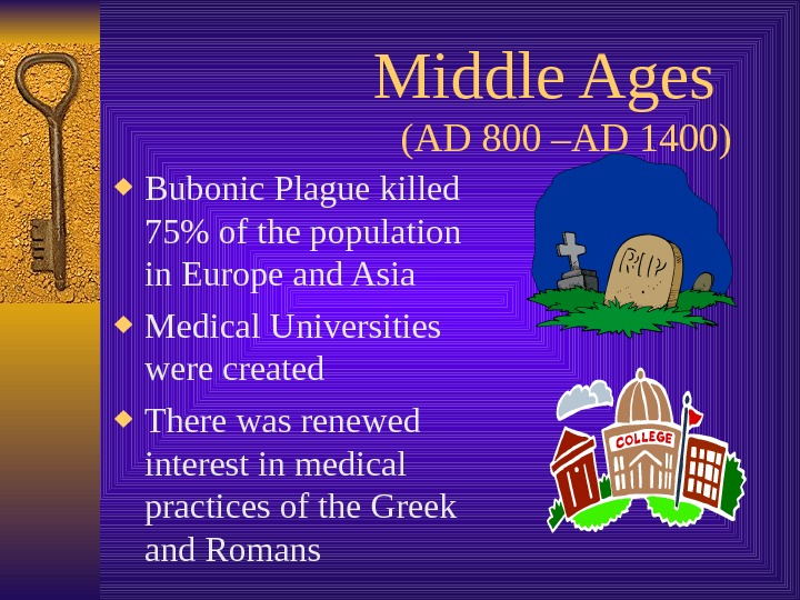 Middle Ages (AD 800 –AD 1400) Bubonic Plague killed 75 of the population in