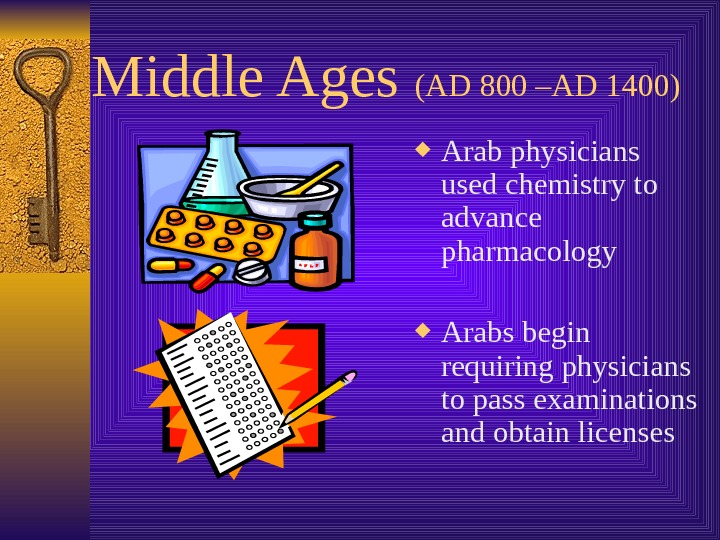 Middle Ages (AD 800 –AD 1400) Arab physicians used chemistry to advance pharmacology Arabs