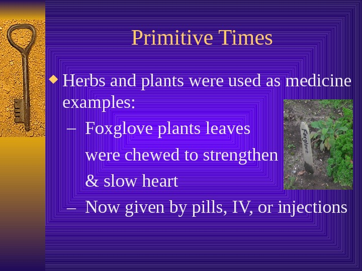 Primitive Times Herbs and plants were used as medicine examples: – Foxglove plants leaves