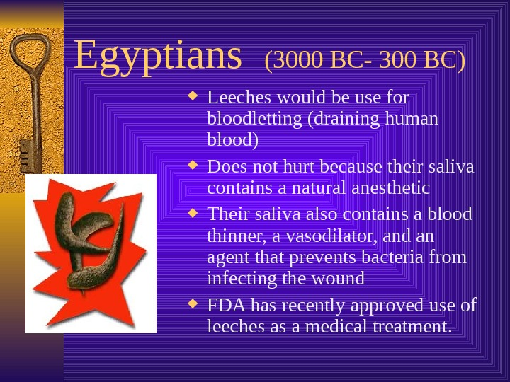 Egyptians  (3000 BC- 300 BC) Leeches would be use for bloodletting (draining human
