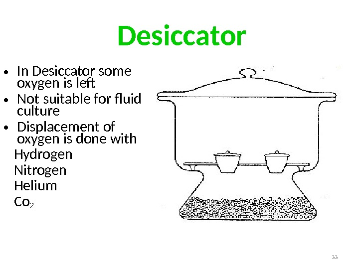 Desiccator • In Desiccator some oxygen is lef • Not suitable for fluid culture •