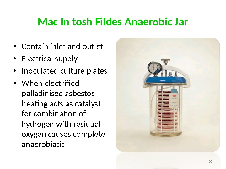 Mac In tosh Fildes Anaerobic Jar • Contain inlet and outlet  • Electrical supply •