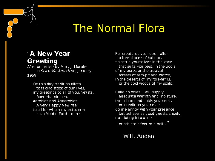 "The Normal Flora "" A New Year Greeting After an article by Mary J. Marples"