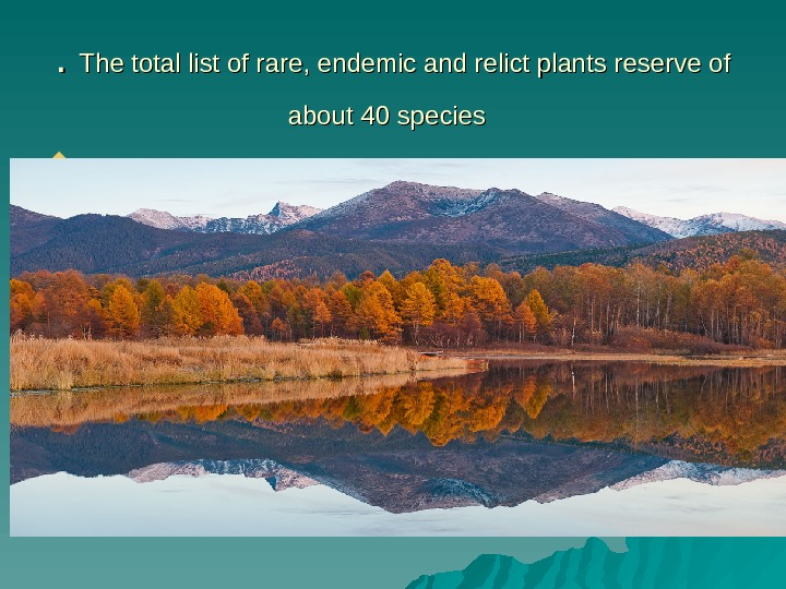. .  The total list of rare, endemic and relict plants reserve of about
