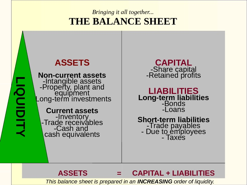 Bringing it all together. . . THE BALANCE SHEET ASSETS Non-current assets -Intangible assets -Property, plant