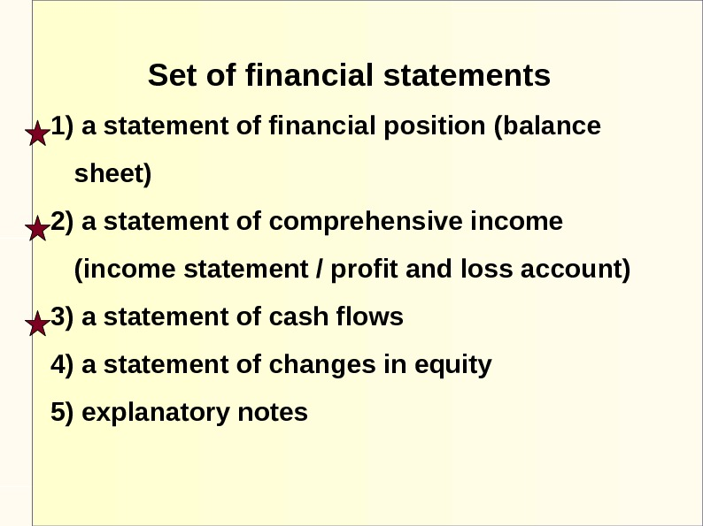 Set of financial statements 1) a statement of financial position (balance sheet) 2) a statement of