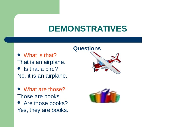DEMONSTRATIVES Questions What is that?  That is an airplane.  Is that a bird?