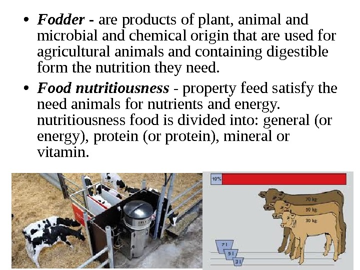 • Fodder - are products of plant, animal and microbial and chemical origin that are