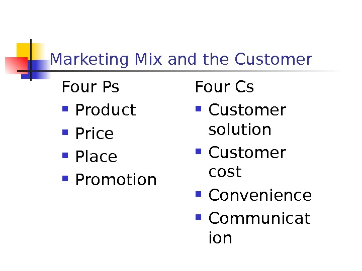 Marketing Mix and the Customer Four Ps Product Price Place Promotion Four Cs Customer solution Customer