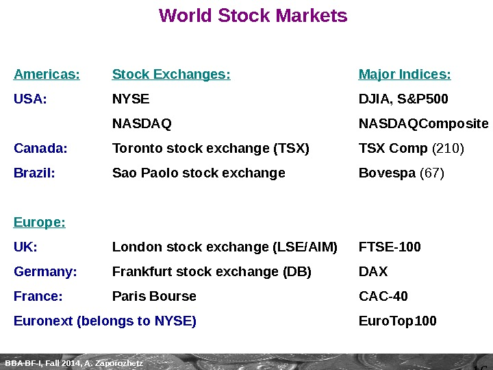 16 BBA BF-I, Fall 2014, A. Zaporozhetz World Stock Markets Americas: Stock Exchanges: Major Indices: USA: