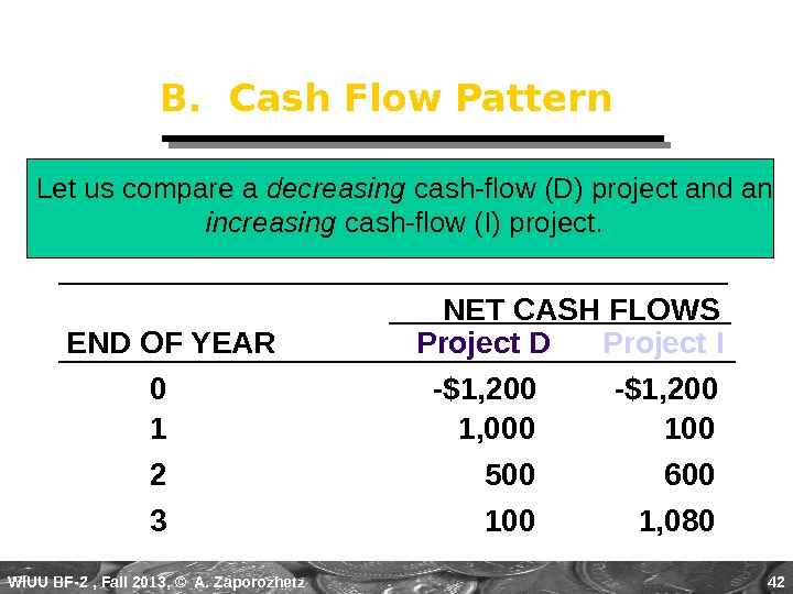 WIUU BF-2  , Fall 2013, © A. Zaporozhetz 42 B.  Cash Flow Pattern Let