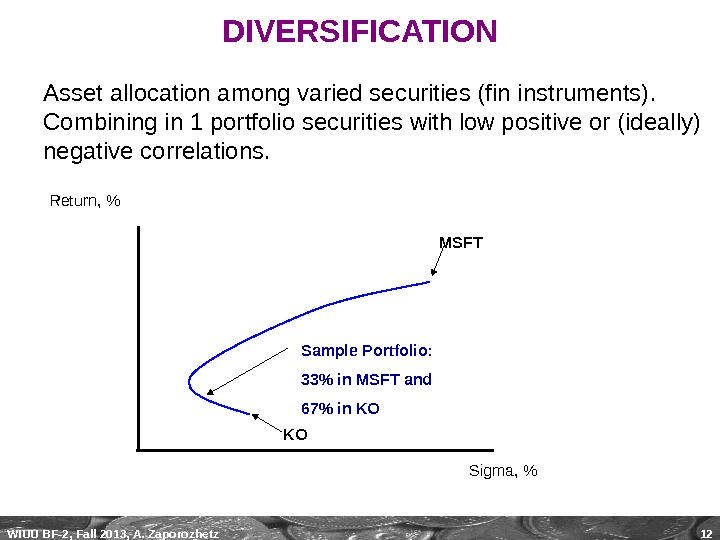 WIUU BF-2, Fall 2013, A. Zaporozhetz 12 DIVERSIFICATION Asset allocation among varied securities (fin instruments).
