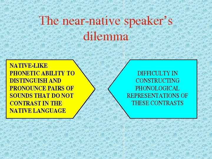 Thenearnativespeaker's dilemma. NATIVELIKE PHONETICABILITYTO DISTINGUISHAND PRONOUNCEPAIRSOF SOUNDSTHATDONOT CONTRASTINTHE NATIVELANGUAGE DIFFICULTYIN CONSTRUCTING PHONOLOGICAL REPRESENTATIONSOF THESECONTRASTS