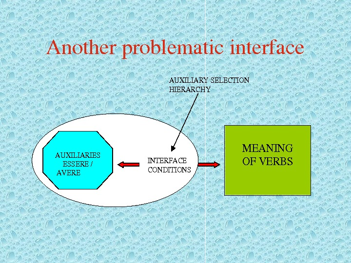 Anotherproblematicinterface. AUXILIARYSELECTION HIERARCHY INTERFACE CONDITIONS MEANING OFVERBS AUXILIARIES ESSERE/ AVERE