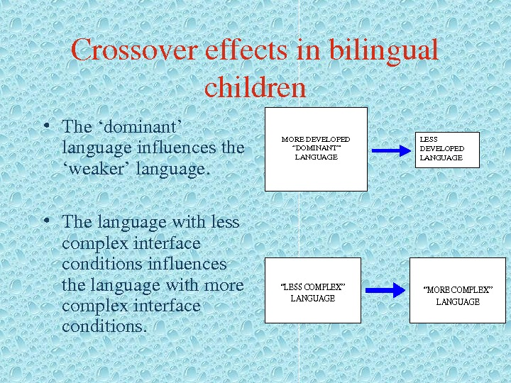 "Crossovereffectsinbilingual children • The'dominant' languageinfluencesthe 'weaker'language.  • Thelanguagewithless complexinterface conditionsinfluences thelanguagewithmore complexinterface conditions. MOREDEVELOPED ""DOMINANT"""
