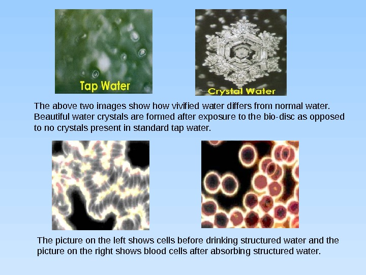 The above two images show vivified water differs from normal water.  Beautiful water crystals are