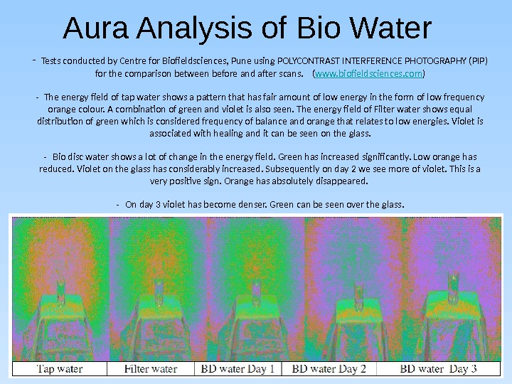 Aura Analysis of Bio Water - Tests conducted by Centre for Biofieldsciences, Pune using POLYCONTRAST INTERFERENCE