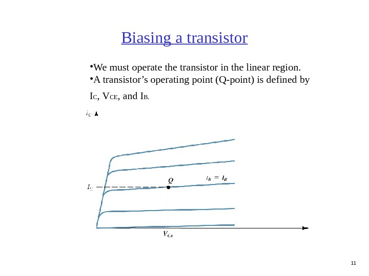 11 Biasing a transistor • We must operate the transistor in the linear region.  •
