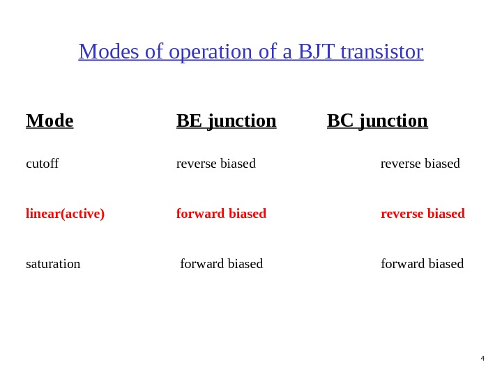 4 Modes of operation of a BJT transistor Mode BE junction BC junction cutoff reverse biased
