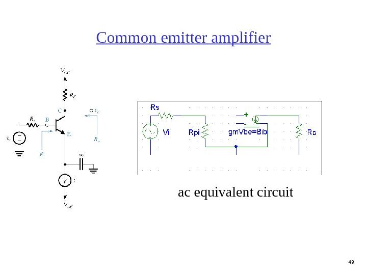 49 Common emitter amplifier ac equivalent circuit