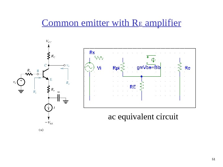 51 Common emitter with R E amplifier ac equivalent circuit