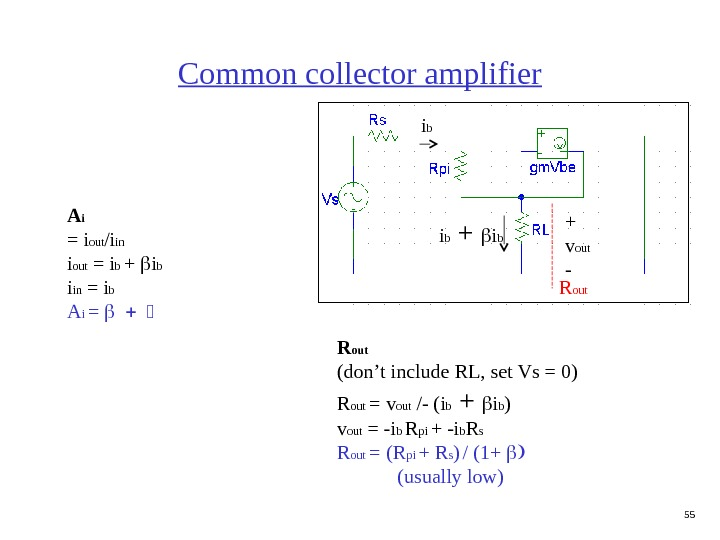55 Common collector amplifier R out+ v out - R out (don't include RL, set Vs
